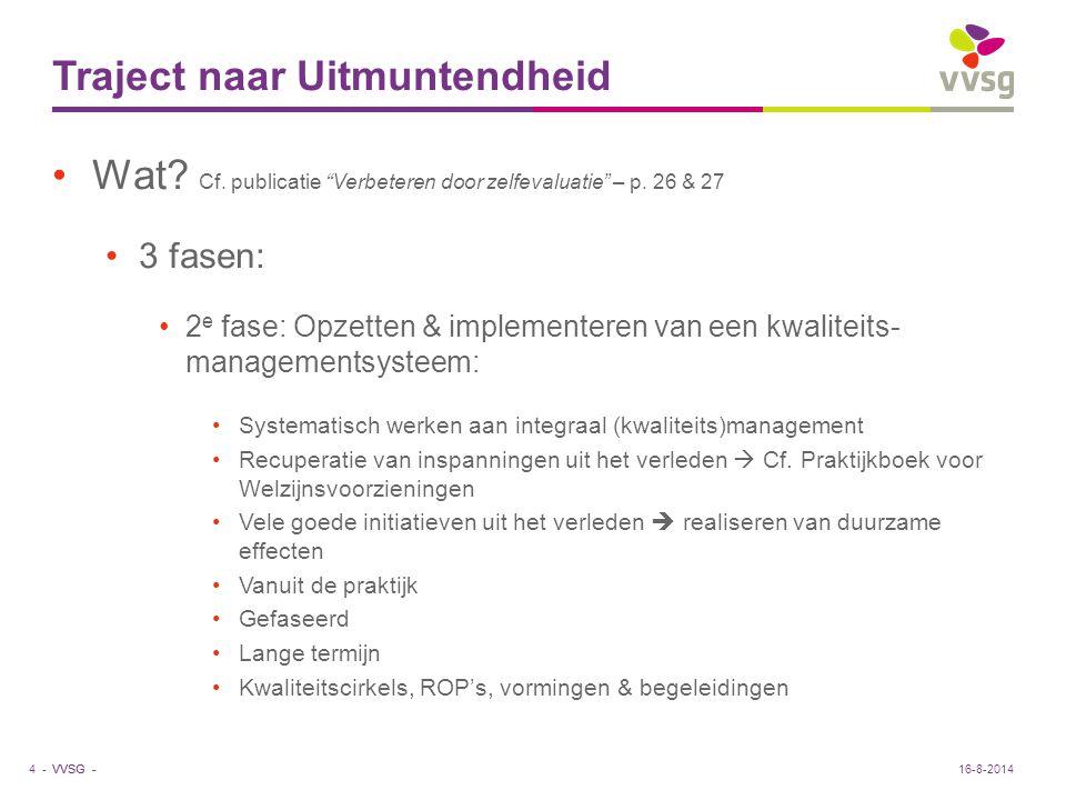 VVSG - Zelfevaluatie van de organisatie. Voorwaarde voor verdere groei en ontwikkeling?5 -16-8-2014