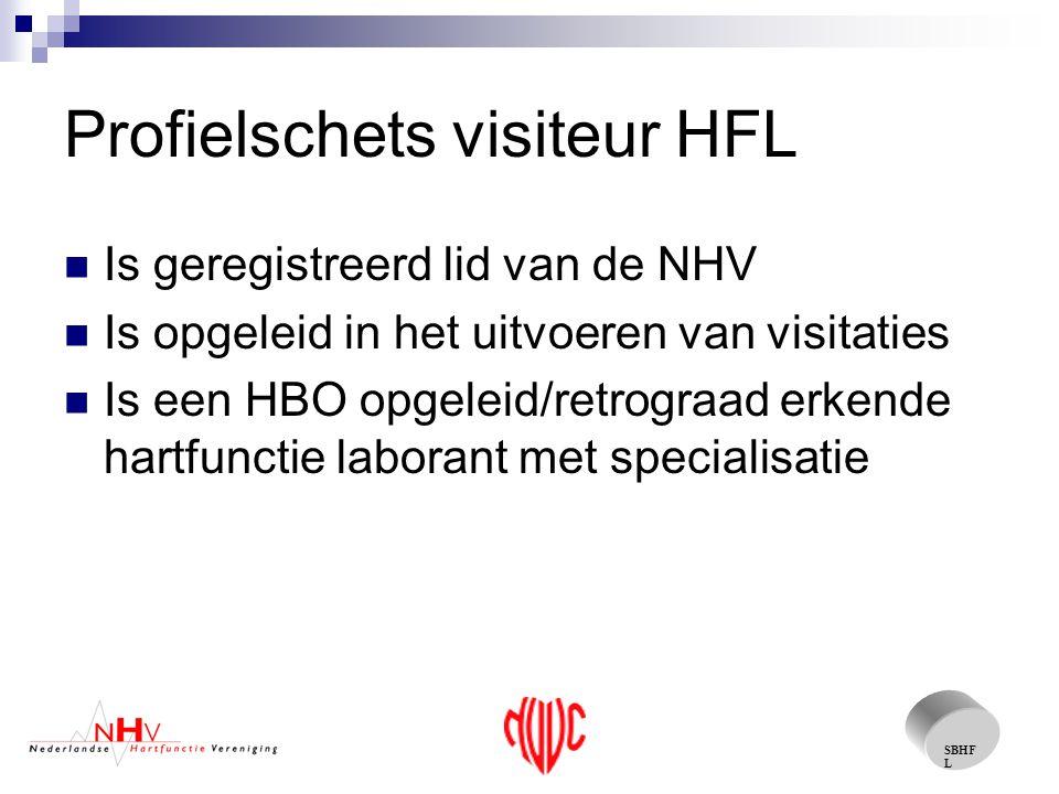SBHF L Profielschets visiteur HFL Is geregistreerd lid van de NHV Is opgeleid in het uitvoeren van visitaties Is een HBO opgeleid/retrograad erkende hartfunctie laborant met specialisatie