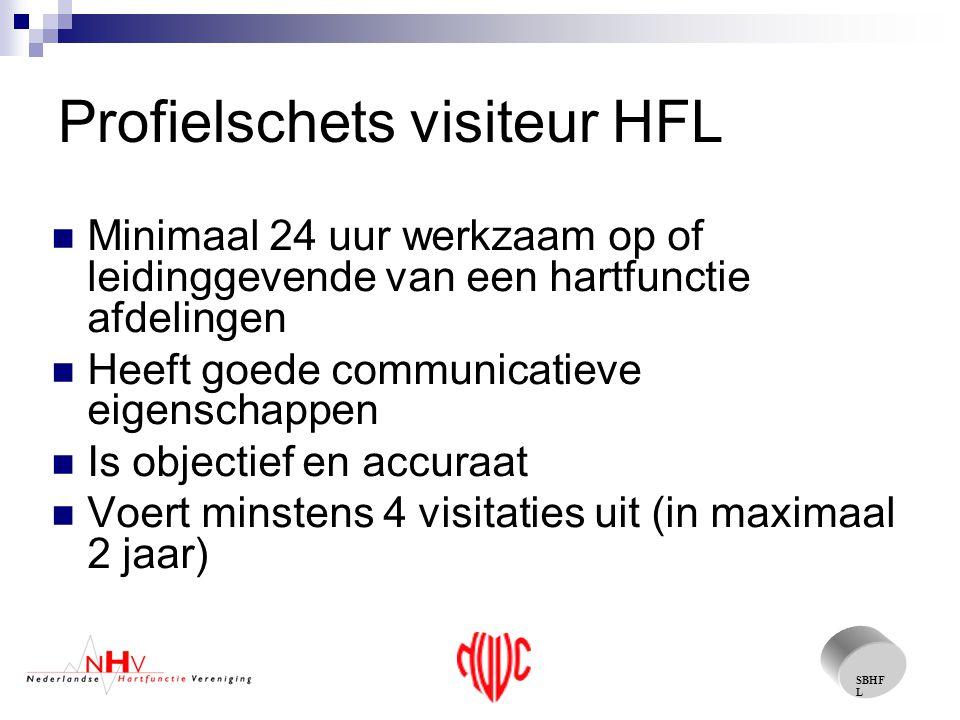 SBHF L Profielschets visiteur HFL Minimaal 24 uur werkzaam op of leidinggevende van een hartfunctie afdelingen Heeft goede communicatieve eigenschappen Is objectief en accuraat Voert minstens 4 visitaties uit (in maximaal 2 jaar)
