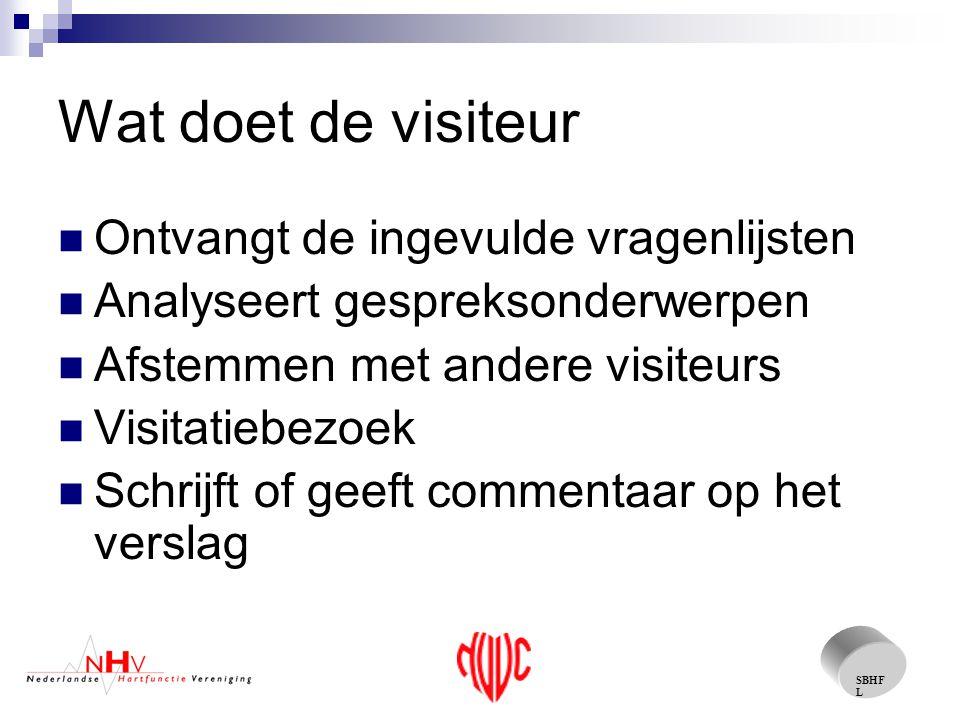 SBHF L 2006 De commissie vergadert regelmatig en stelt een reglement vast Overleg met de NVVC om een gezamenlijke visitatie te realiseren In september de eerste proef visitatie in het Scheper Ziekenhuis te Emmen