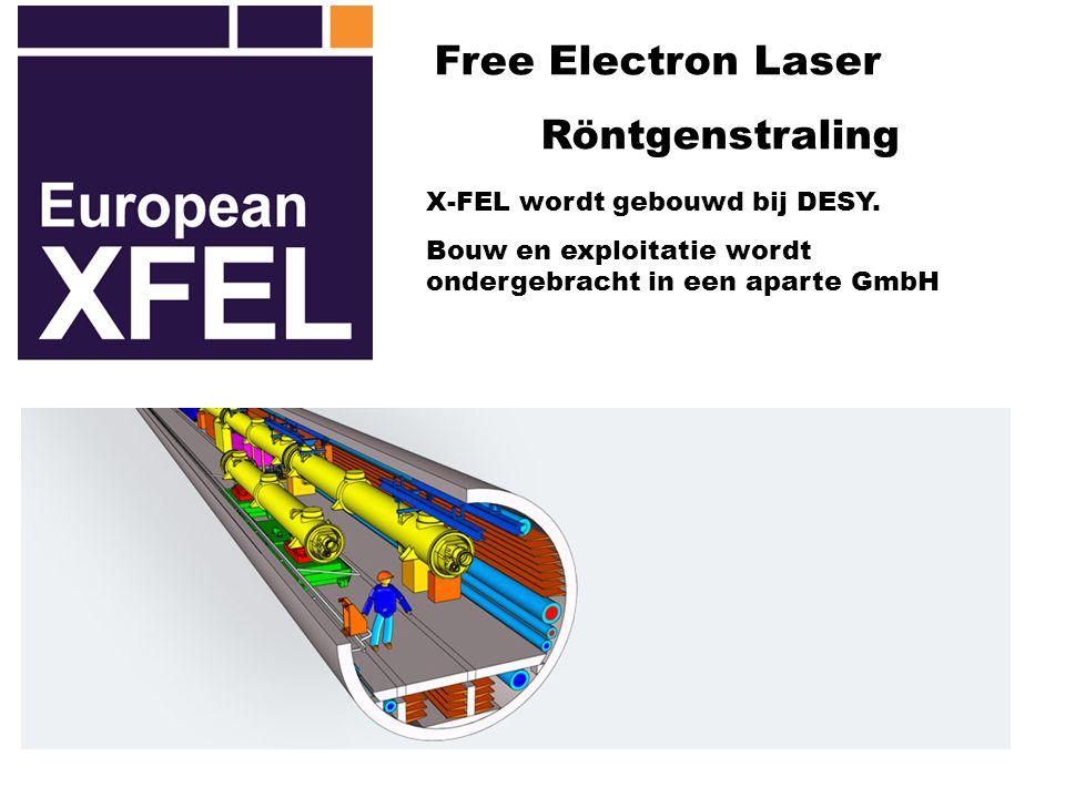 Free Electron Laser Röntgenstraling X-FEL wordt gebouwd bij DESY. Bouw en exploitatie wordt ondergebracht in een aparte GmbH