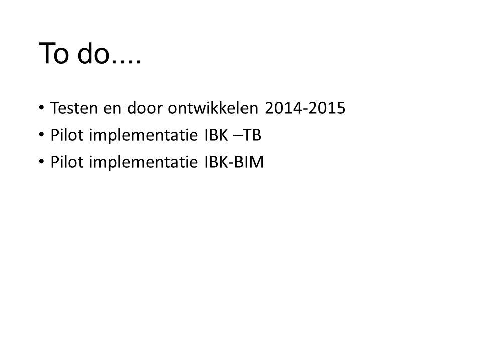 To do.... Testen en door ontwikkelen 2014-2015 Pilot implementatie IBK –TB Pilot implementatie IBK-BIM