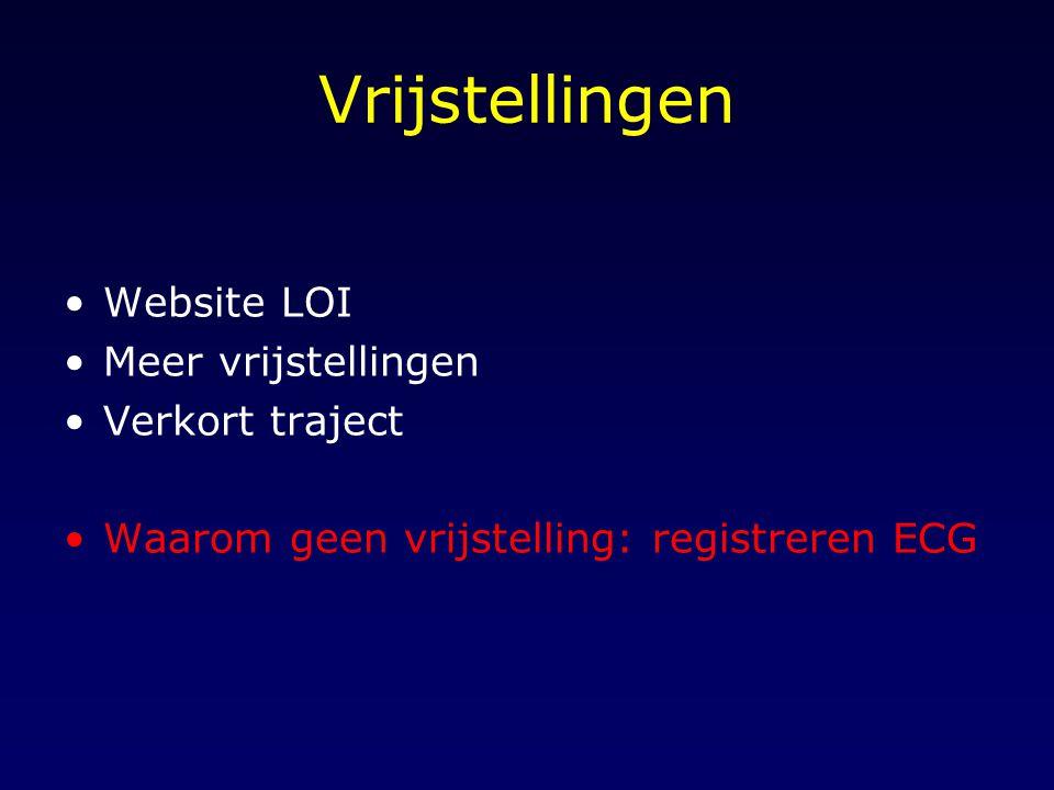 Vrijstellingen Website LOI Meer vrijstellingen Verkort traject Waarom geen vrijstelling: registreren ECG