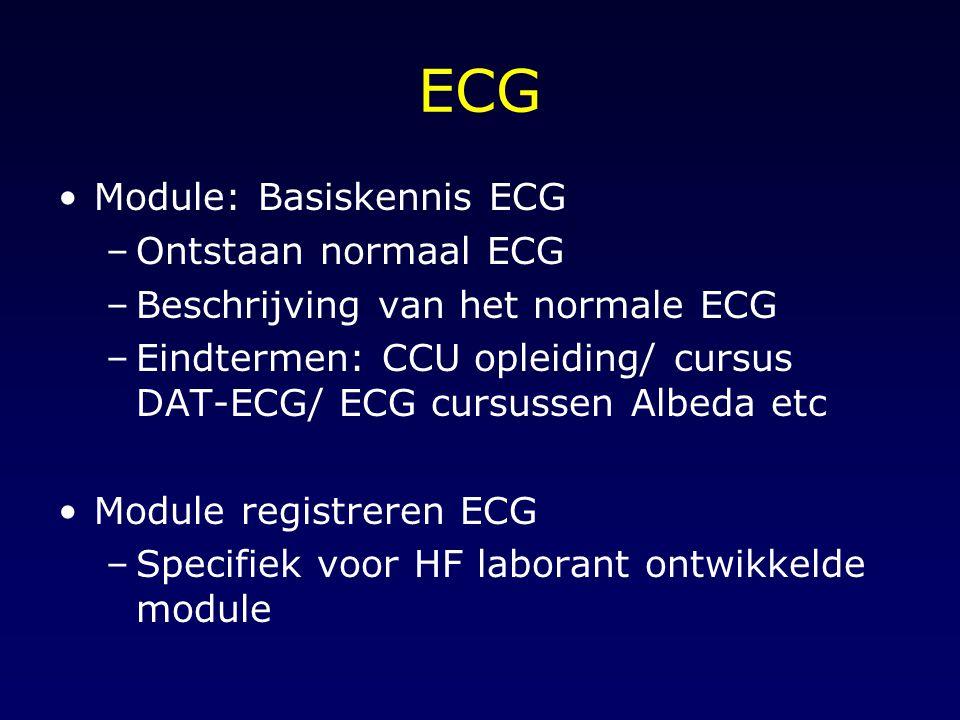 ECG Module: Basiskennis ECG –Ontstaan normaal ECG –Beschrijving van het normale ECG –Eindtermen: CCU opleiding/ cursus DAT-ECG/ ECG cursussen Albeda e