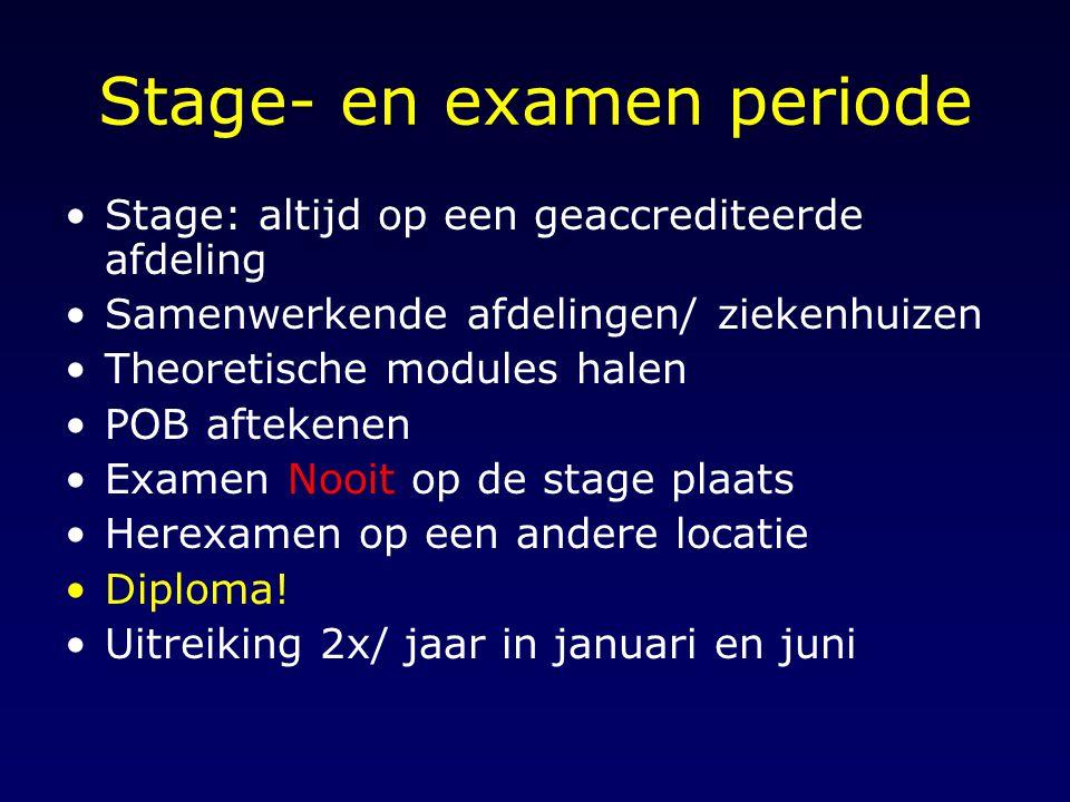 Stage- en examen periode Stage: altijd op een geaccrediteerde afdeling Samenwerkende afdelingen/ ziekenhuizen Theoretische modules halen POB aftekenen