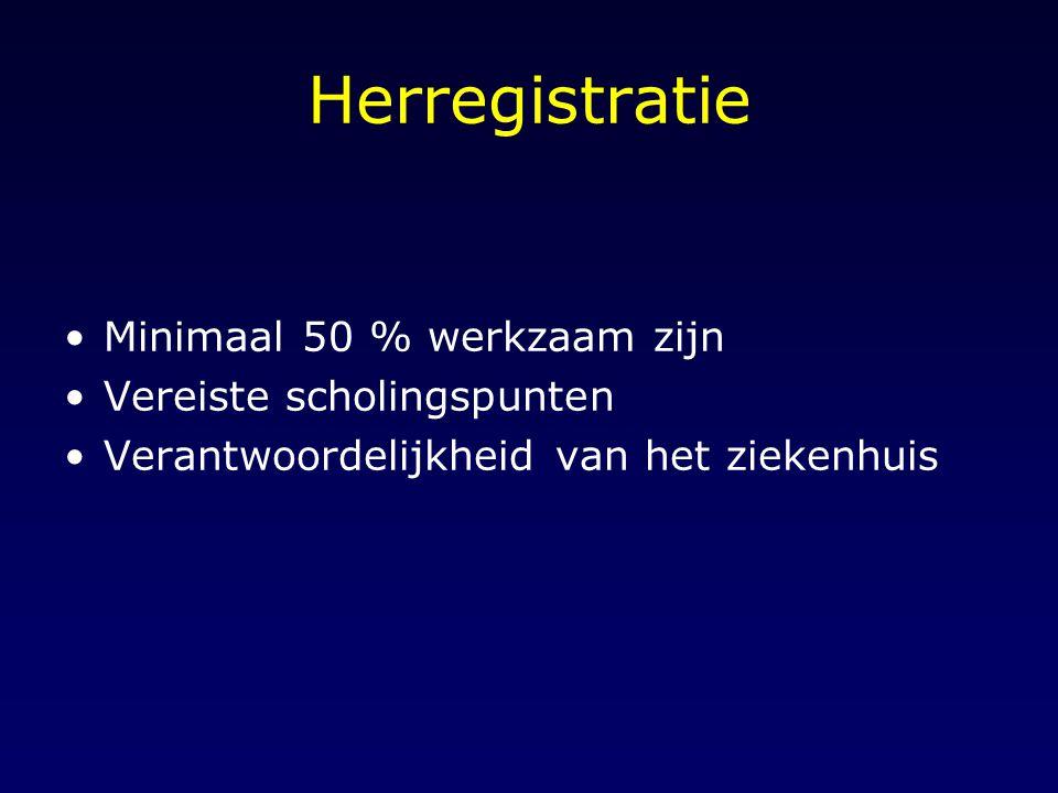 Herregistratie Minimaal 50 % werkzaam zijn Vereiste scholingspunten Verantwoordelijkheid van het ziekenhuis