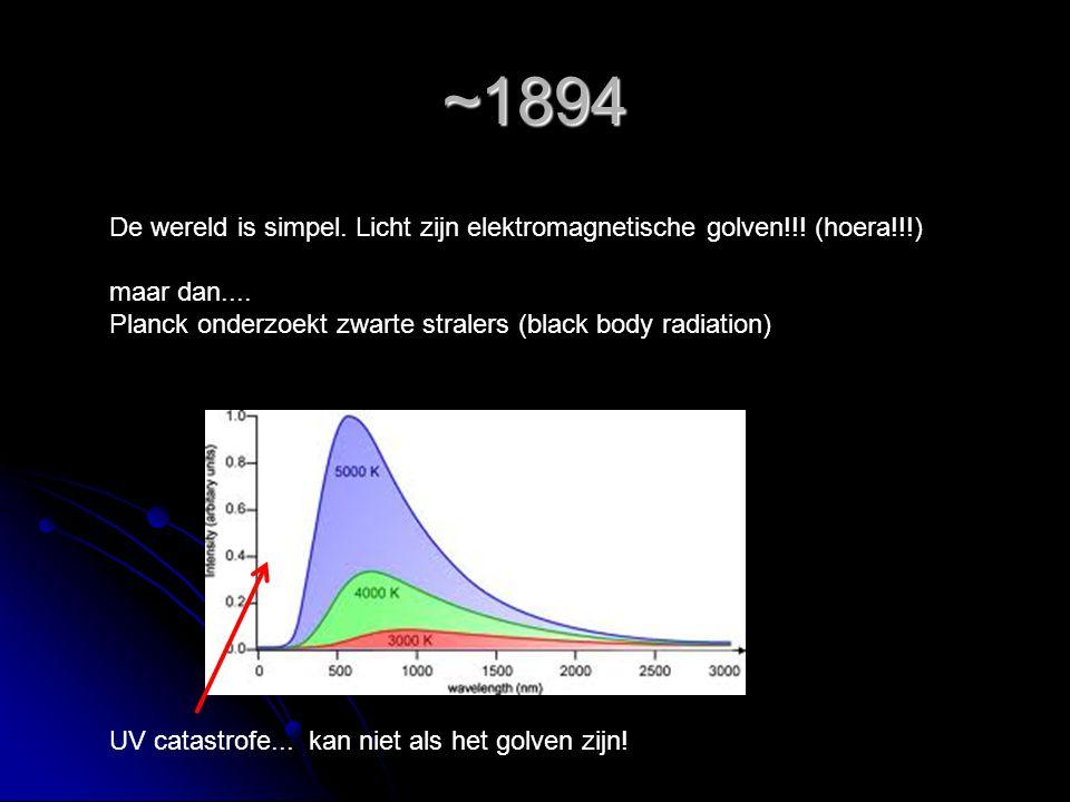 ~1894 De wereld is simpel. Licht zijn elektromagnetische golven!!! (hoera!!!) maar dan.... Planck onderzoekt zwarte stralers (black body radiation) UV