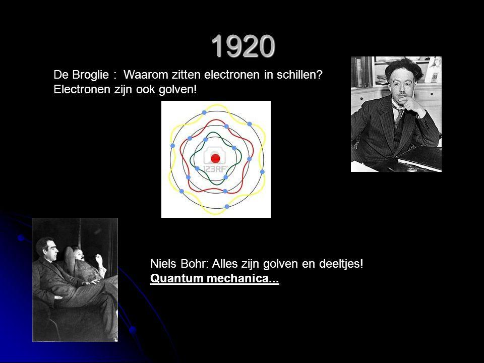 1920 De Broglie : Waarom zitten electronen in schillen? Electronen zijn ook golven! Niels Bohr: Alles zijn golven en deeltjes! Quantum mechanica...