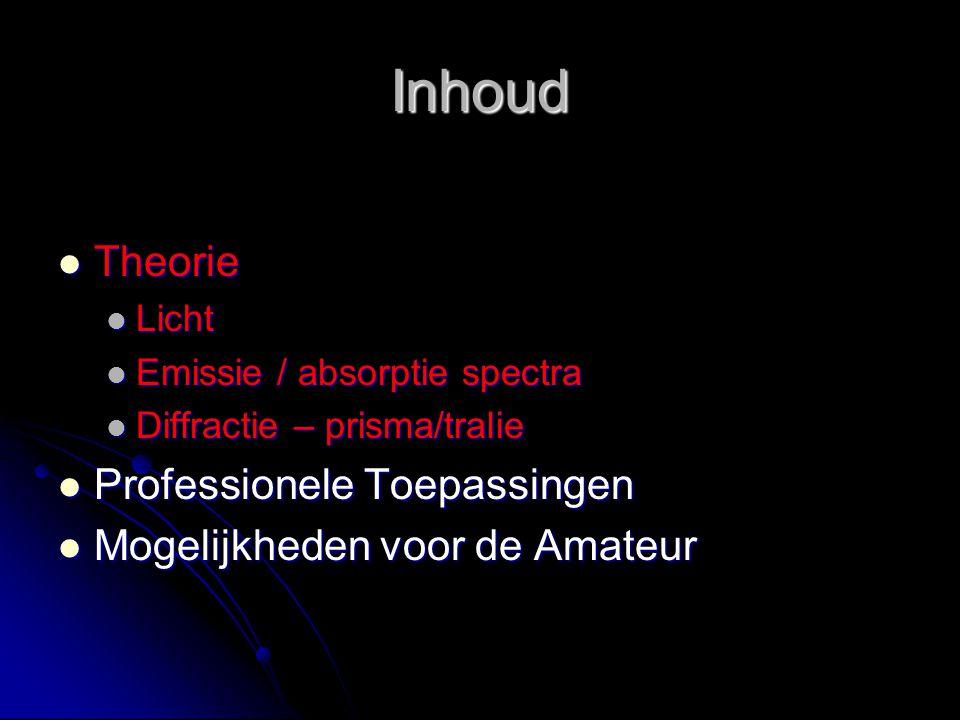 Inhoud Theorie Theorie Licht Licht Emissie / absorptie spectra Emissie / absorptie spectra Diffractie – prisma/tralie Diffractie – prisma/tralie Profe