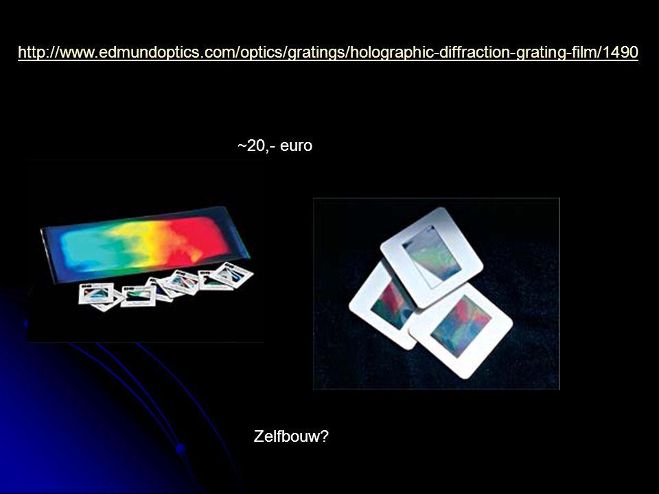 http://www.edmundoptics.com/optics/gratings/holographic-diffraction-grating-film/1490 ~20,- euro Zelfbouw?