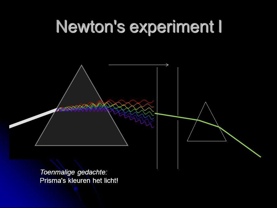 Newton s experiment I Toenmalige gedachte: Prisma s kleuren het licht!