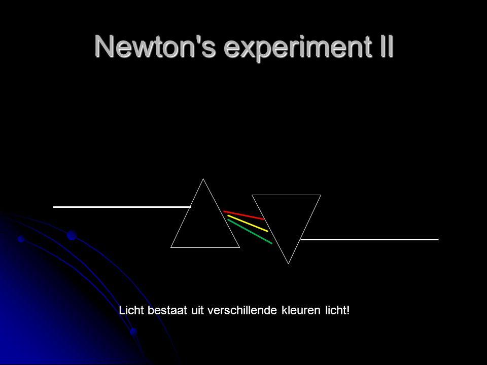 Newton's experiment II Licht bestaat uit verschillende kleuren licht!