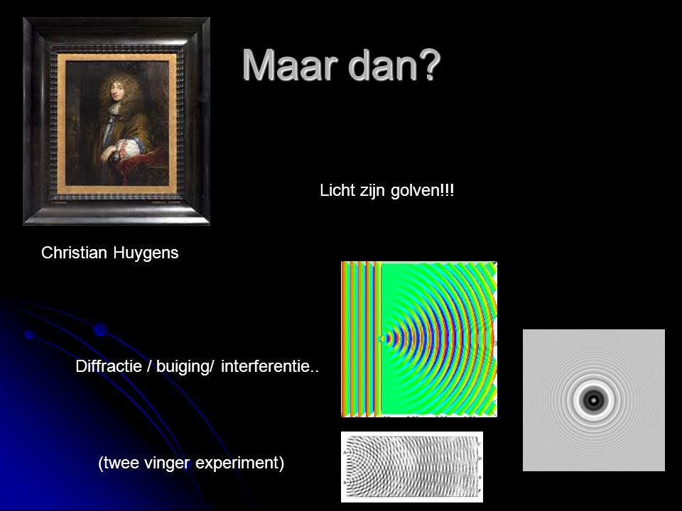 Maar dan? Christian Huygens Diffractie / buiging/ interferentie.. Licht zijn golven!!! (twee vinger experiment)