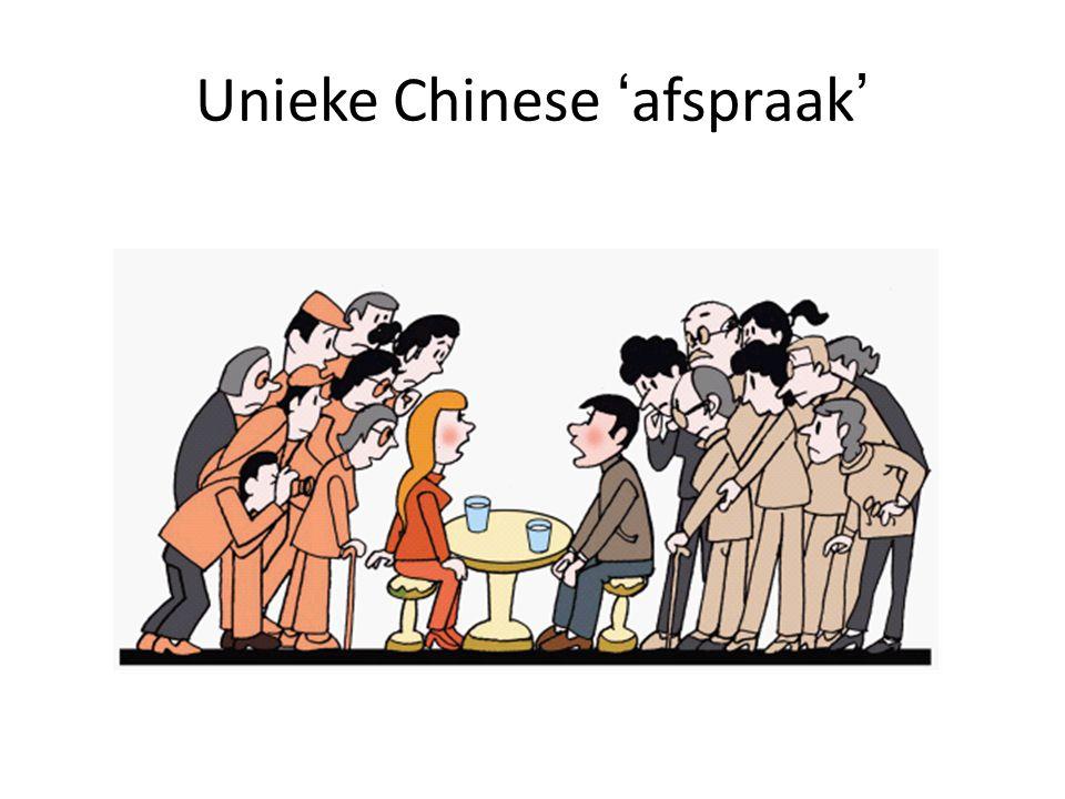 Unieke Chinese 'afspraak'