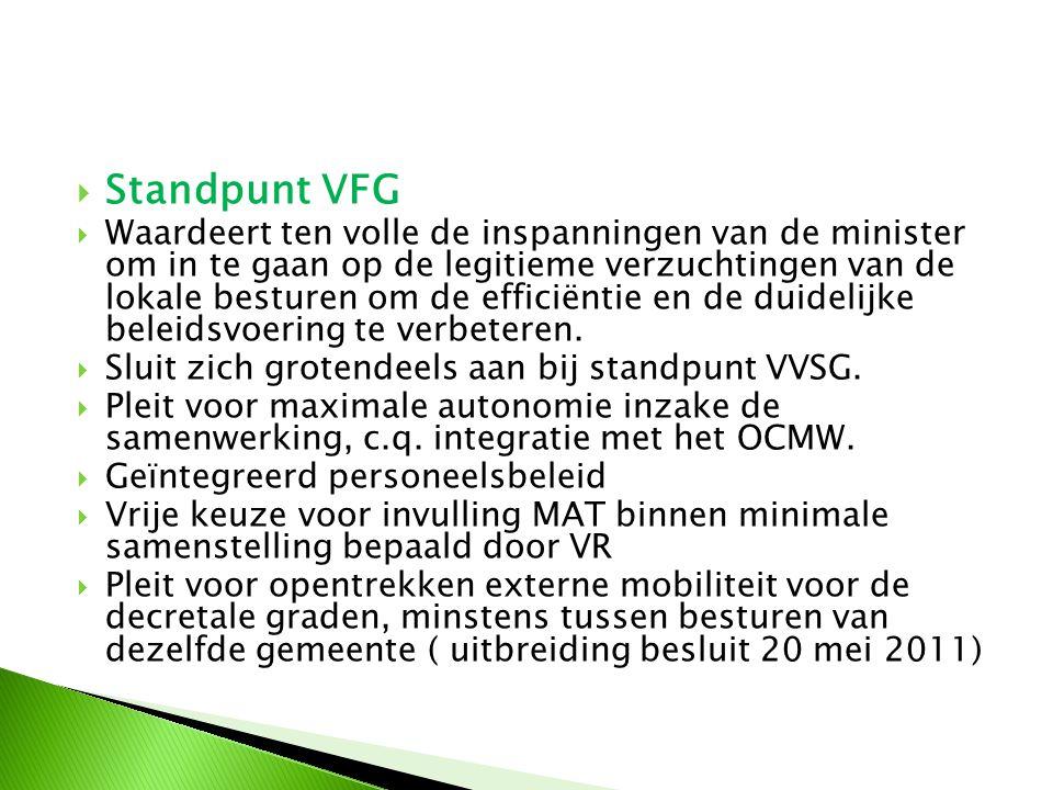  Standpunt VFG  Waardeert ten volle de inspanningen van de minister om in te gaan op de legitieme verzuchtingen van de lokale besturen om de efficië