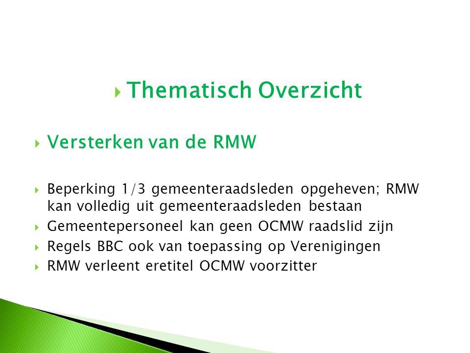  Thematisch Overzicht  Versterken van de RMW  Beperking 1/3 gemeenteraadsleden opgeheven; RMW kan volledig uit gemeenteraadsleden bestaan  Gemeent