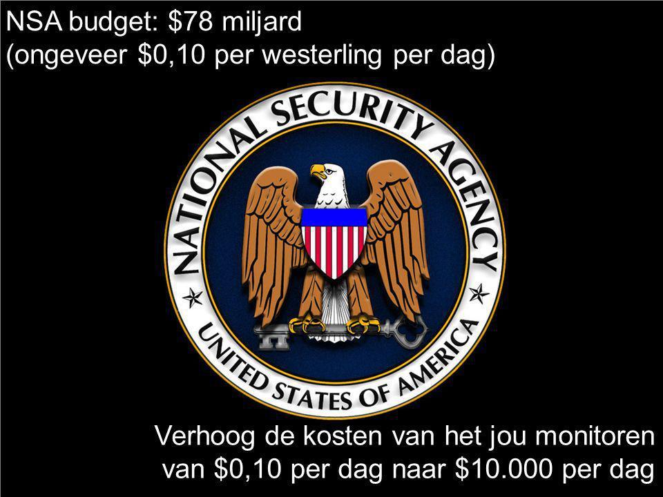 NSA budget: $78 miljard (ongeveer $0,10 per westerling per dag) Verhoog de kosten van het jou monitoren van $0,10 per dag naar $10.000 per dag