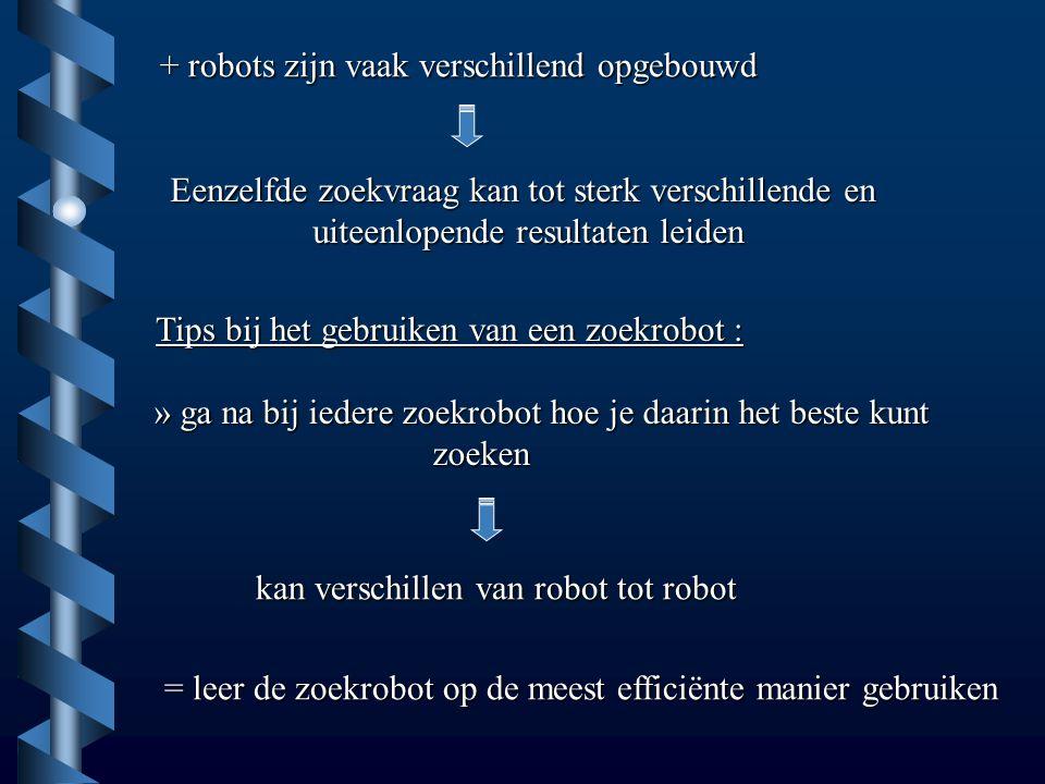 + robots zijn vaak verschillend opgebouwd Eenzelfde zoekvraag kan tot sterk verschillende en uiteenlopende resultaten leiden Tips bij het gebruiken van een zoekrobot : » ga na bij iedere zoekrobot hoe je daarin het beste kunt zoeken zoeken kan verschillen van robot tot robot = leer de zoekrobot op de meest efficiënte manier gebruiken