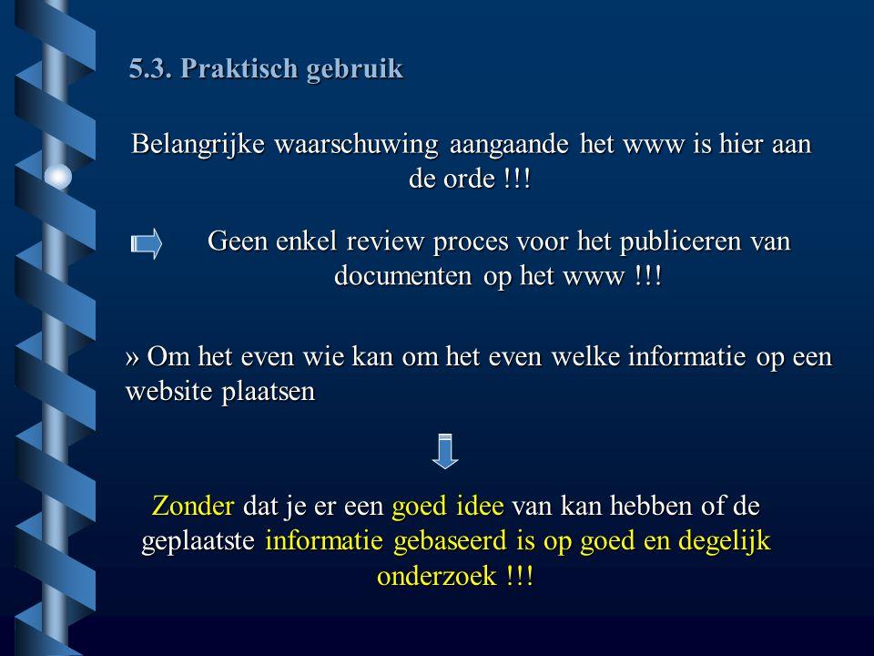 5.3. Praktisch gebruik Belangrijke waarschuwing aangaande het www is hier aan de orde !!! Geen enkel review proces voor het publiceren van documenten