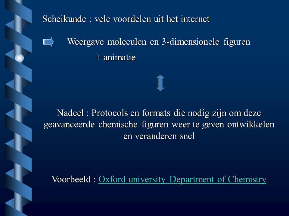 Scheikunde : vele voordelen uit het internet Weergave moleculen en 3-dimensionele figuren + animatie Nadeel : Protocols en formats die nodig zijn om d