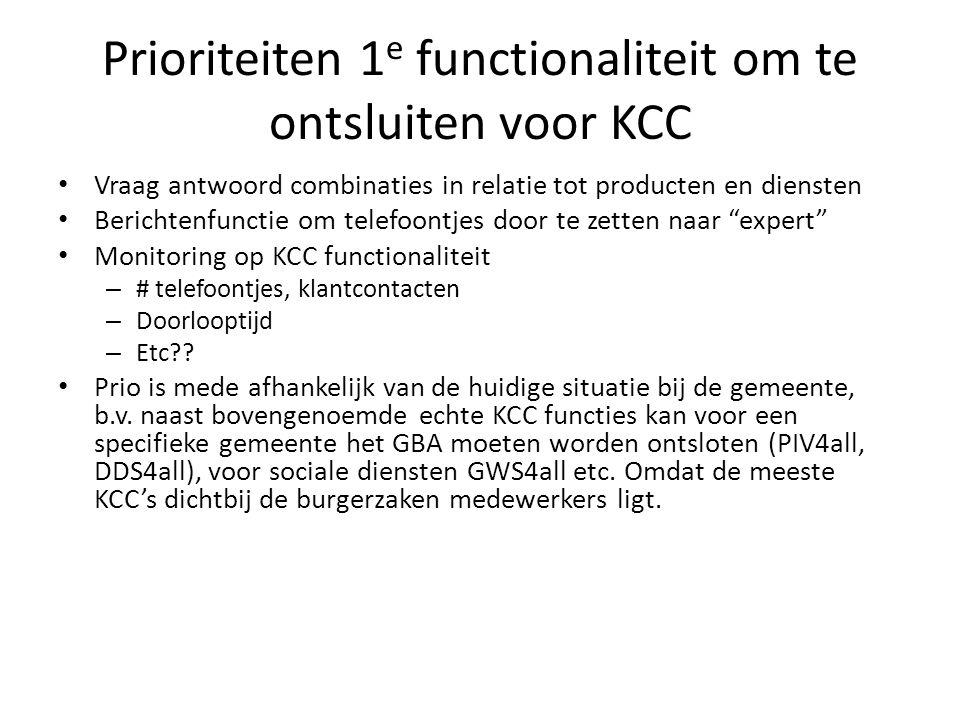Prioriteiten 1 e functionaliteit om te ontsluiten voor KCC Vraag antwoord combinaties in relatie tot producten en diensten Berichtenfunctie om telefoo
