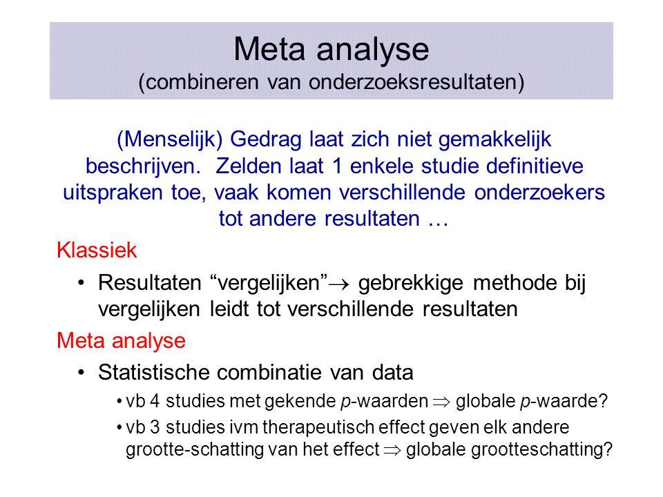 Meta analyse (combineren van onderzoeksresultaten) (Menselijk) Gedrag laat zich niet gemakkelijk beschrijven. Zelden laat 1 enkele studie definitieve