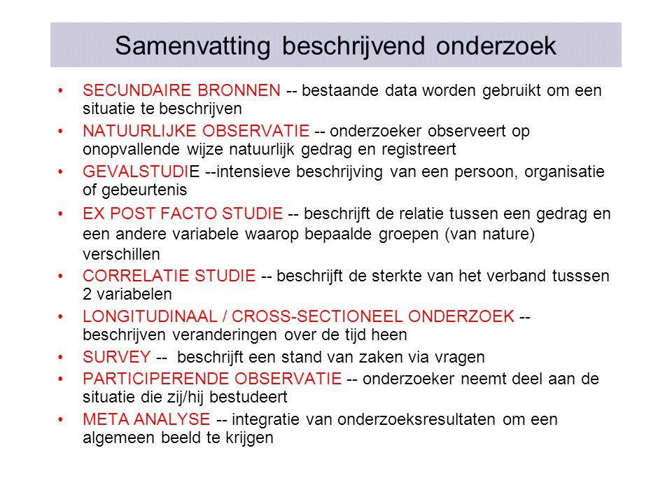 Samenvatting beschrijvend onderzoek SECUNDAIRE BRONNEN -- bestaande data worden gebruikt om een situatie te beschrijven NATUURLIJKE OBSERVATIE -- onde
