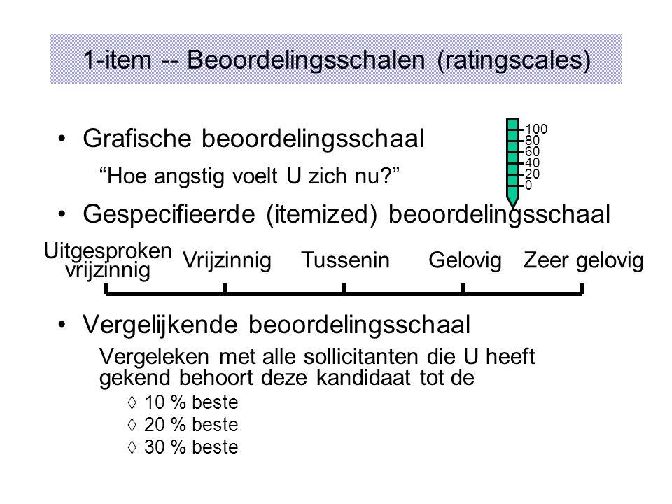 """1-item -- Beoordelingsschalen (ratingscales) Grafische beoordelingsschaal """"Hoe angstig voelt U zich nu?"""" Gespecifieerde (itemized) beoordelingsschaal"""