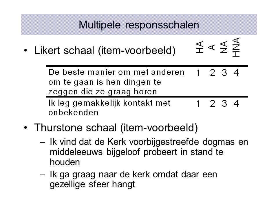 Multipele responsschalen Likert schaal (item-voorbeeld) Thurstone schaal (item-voorbeeld) –Ik vind dat de Kerk voorbijgestreefde dogmas en middeleeuws