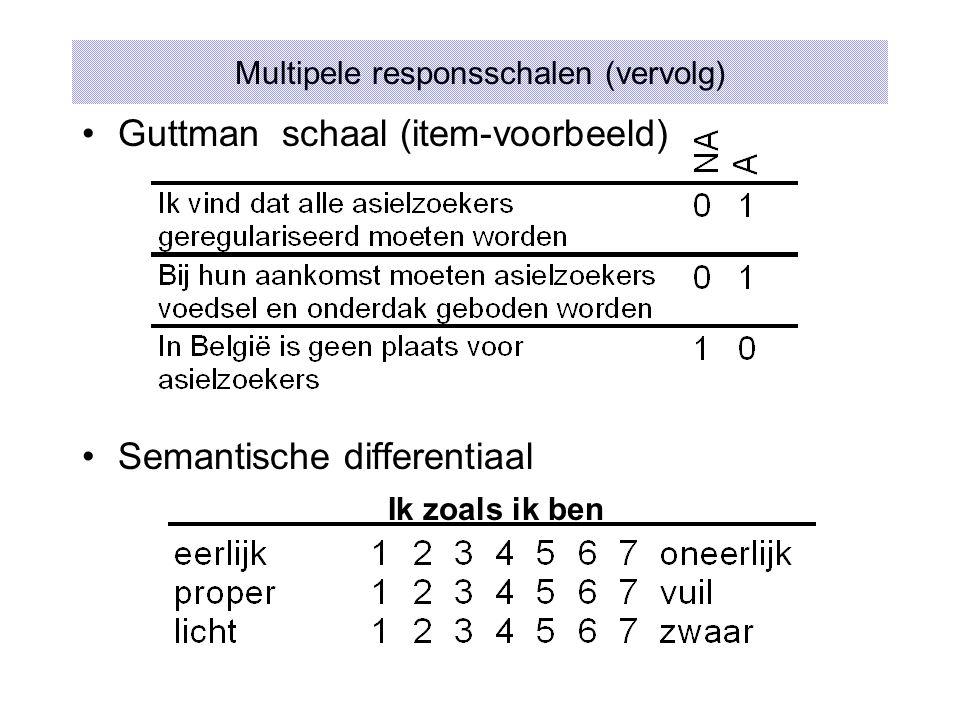 Guttman schaal (item-voorbeeld) Semantische differentiaal Multipele responsschalen (vervolg) Ik zoals ik ben