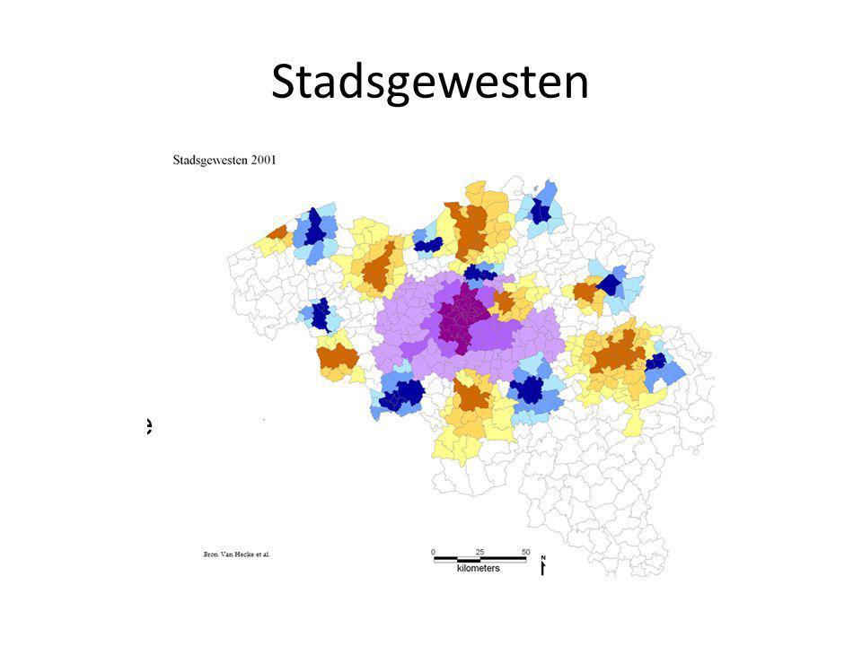 Verandering bevolking in verschillende delen van het stadsgewest