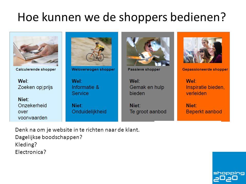 Hoe kunnen we de shoppers bedienen? Denk na om je website in te richten naar de klant. Dagelijkse boodschappen? Kleding? Electronica?