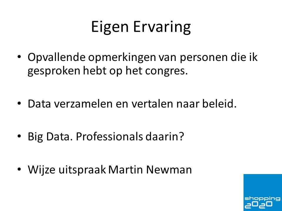 Eigen Ervaring Opvallende opmerkingen van personen die ik gesproken hebt op het congres. Data verzamelen en vertalen naar beleid. Big Data. Profession