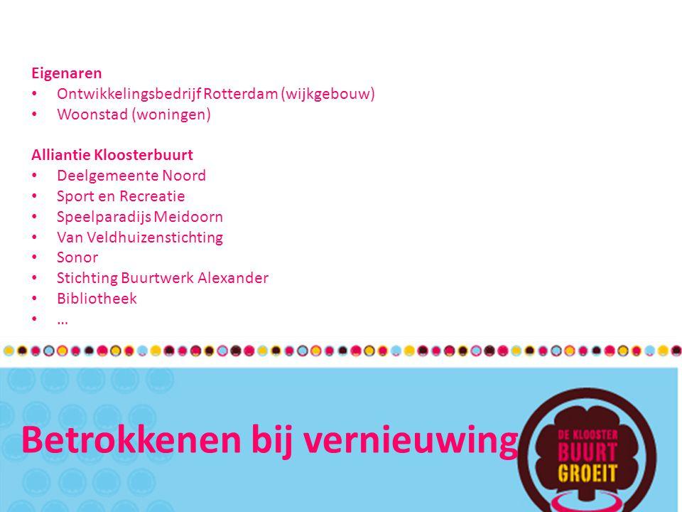 Betrokkenen bij vernieuwing Eigenaren Ontwikkelingsbedrijf Rotterdam (wijkgebouw) Woonstad (woningen) Alliantie Kloosterbuurt Deelgemeente Noord Sport