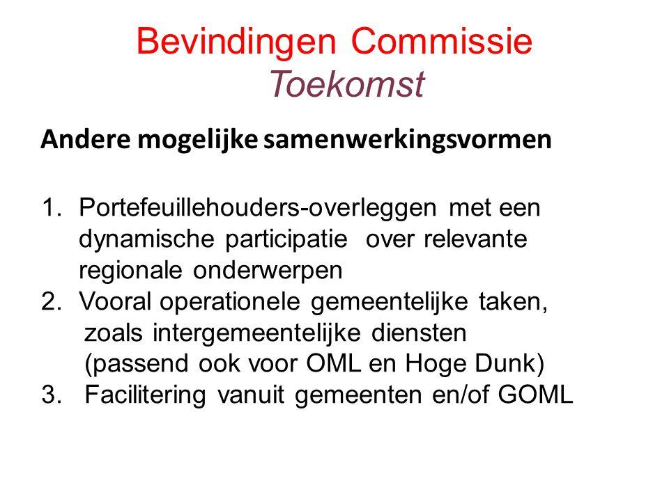 Bevindingen Commissie Toekomst Andere mogelijke samenwerkingsvormen 1.Portefeuillehouders-overleggen met een dynamische participatie over relevante regionale onderwerpen 2.Vooral operationele gemeentelijke taken, zoals intergemeentelijke diensten (passend ook voor OML en Hoge Dunk) 3.
