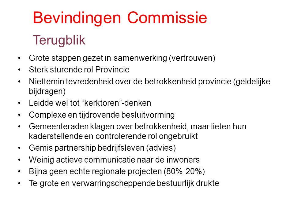 Bevindingen Commissie Terugblik Grote stappen gezet in samenwerking (vertrouwen) Sterk sturende rol Provincie Niettemin tevredenheid over de betrokken