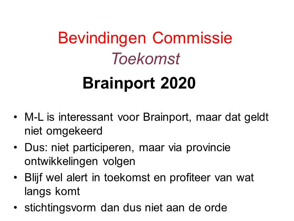 Bevindingen Commissie Toekomst M-L is interessant voor Brainport, maar dat geldt niet omgekeerd Dus: niet participeren, maar via provincie ontwikkelingen volgen Blijf wel alert in toekomst en profiteer van wat langs komt stichtingsvorm dan dus niet aan de orde Brainport 2020