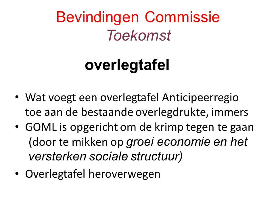 Bevindingen Commissie Toekomst Wat voegt een overlegtafel Anticipeerregio toe aan de bestaande overlegdrukte, immers GOML is opgericht om de krimp tegen te gaan (door te mikken op groei economie en het versterken sociale structuur) Overlegtafel heroverwegen overlegtafel
