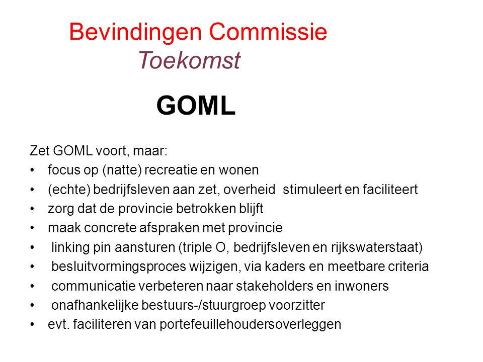 Zet GOML voort, maar: focus op (natte) recreatie en wonen (echte) bedrijfsleven aan zet, overheid stimuleert en faciliteert zorg dat de provincie betr