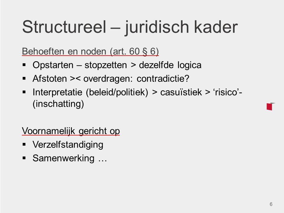 Structurele elementen  Organisatorische aspecten  Sociaal-juridisch kader  Infrastructuur  Bedrijfseconomische en financiële aspecten BASISPRINCIPES INSTRUMENTEN OCMW'S TOEPASSING/REALITEIT CONCLUSIE(S) 7