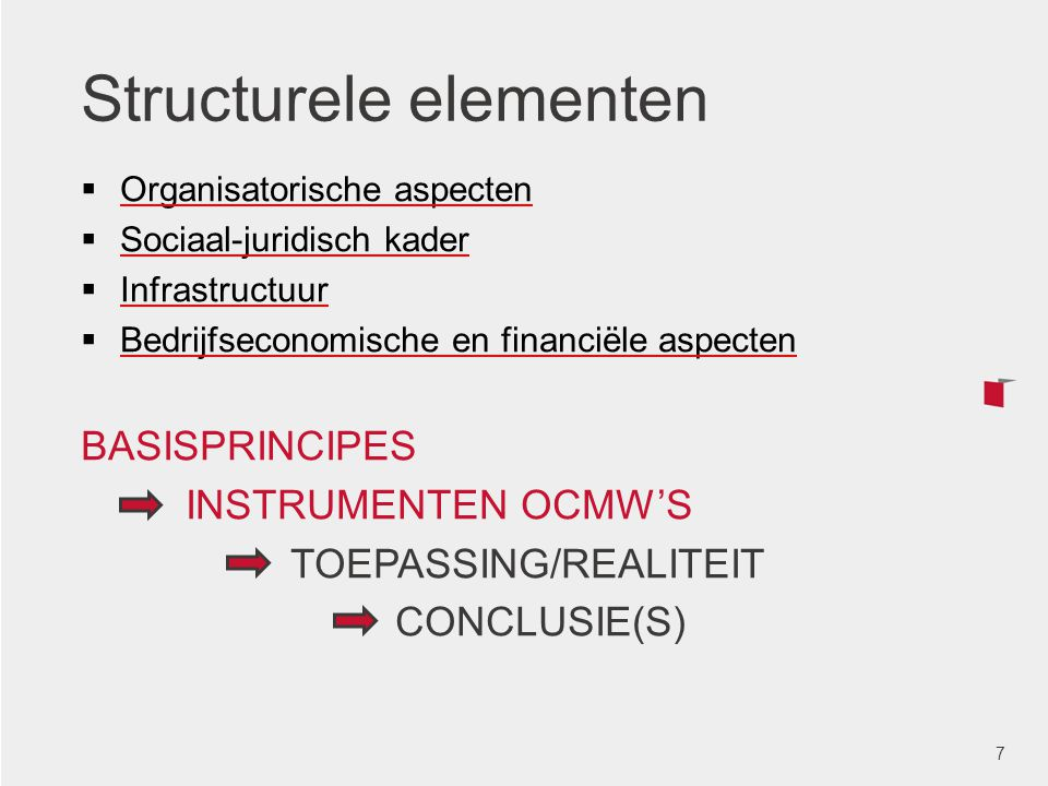 Structurele elementen  Organisatorische aspecten  Sociaal-juridisch kader  Infrastructuur  Bedrijfseconomische en financiële aspecten BASISPRINCIP