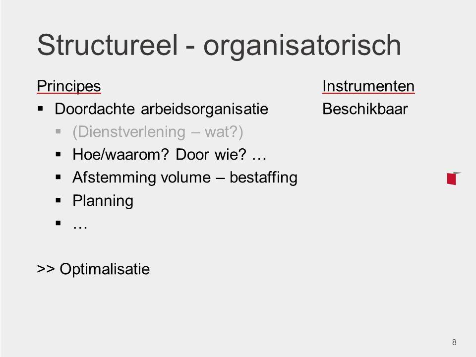 Structureel - organisatorisch PrincipesInstrumenten  Doordachte arbeidsorganisatieBeschikbaar  (Dienstverlening – wat?)  Hoe/waarom? Door wie? … 