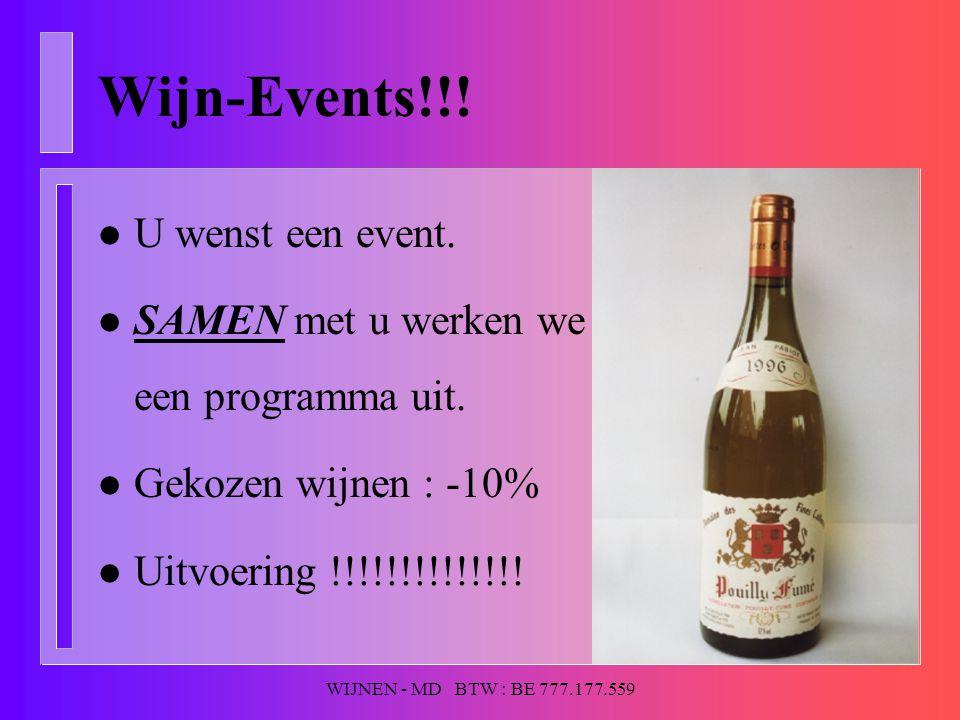 WIJNEN - MD BTW : BE 777.177.559 Wijn-Events!!! l U wenst een event. l SAMEN met u werken we een programma uit. l Gekozen wijnen : -10% l Uitvoering !