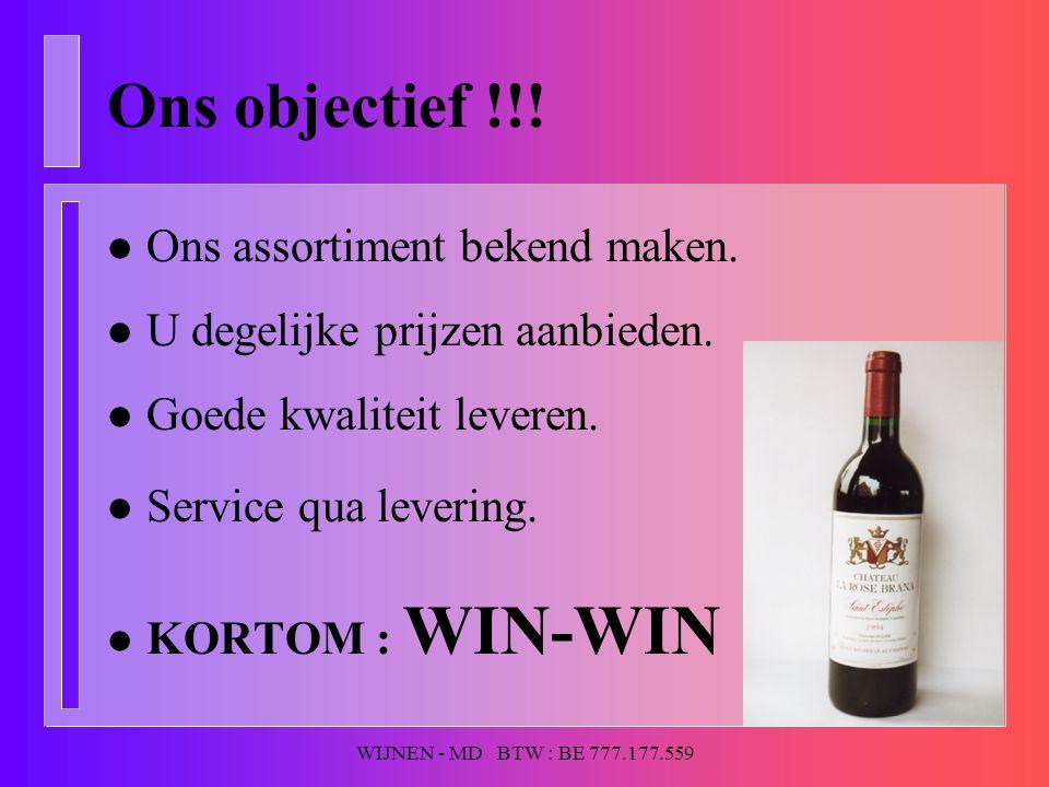 WIJNEN - MD BTW : BE 777.177.559 Ons objectief !!! l Ons assortiment bekend maken. l U degelijke prijzen aanbieden. l Goede kwaliteit leveren. l Servi