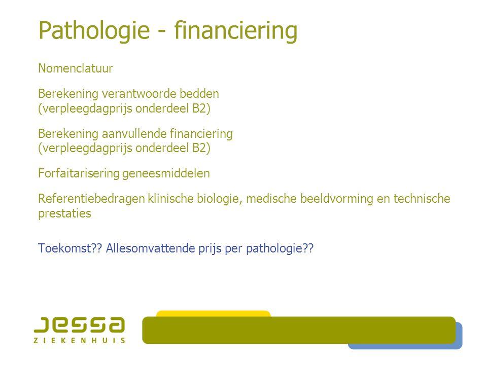 Pathologie - financiering Nomenclatuur Berekening verantwoorde bedden (verpleegdagprijs onderdeel B2) Berekening aanvullende financiering (verpleegdag