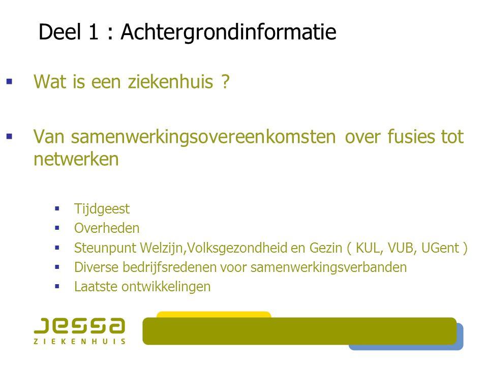  Wat is een ziekenhuis ?  Van samenwerkingsovereenkomsten over fusies tot netwerken  Tijdgeest  Overheden  Steunpunt Welzijn,Volksgezondheid en G