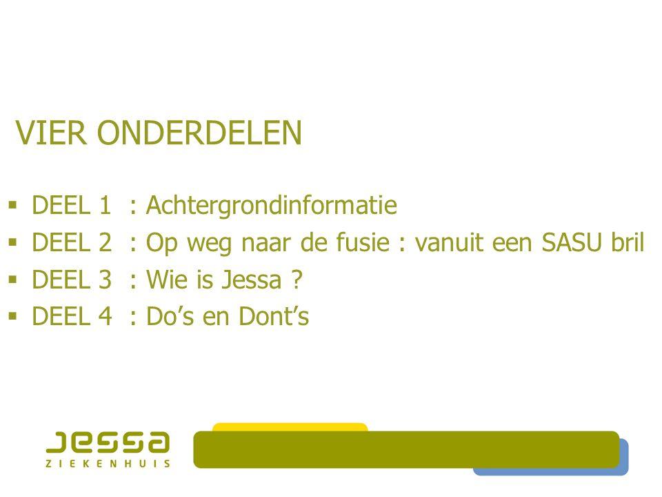 VIER ONDERDELEN  DEEL 1 : Achtergrondinformatie  DEEL 2 : Op weg naar de fusie : vanuit een SASU bril  DEEL 3 : Wie is Jessa ?  DEEL 4 : Do's en D