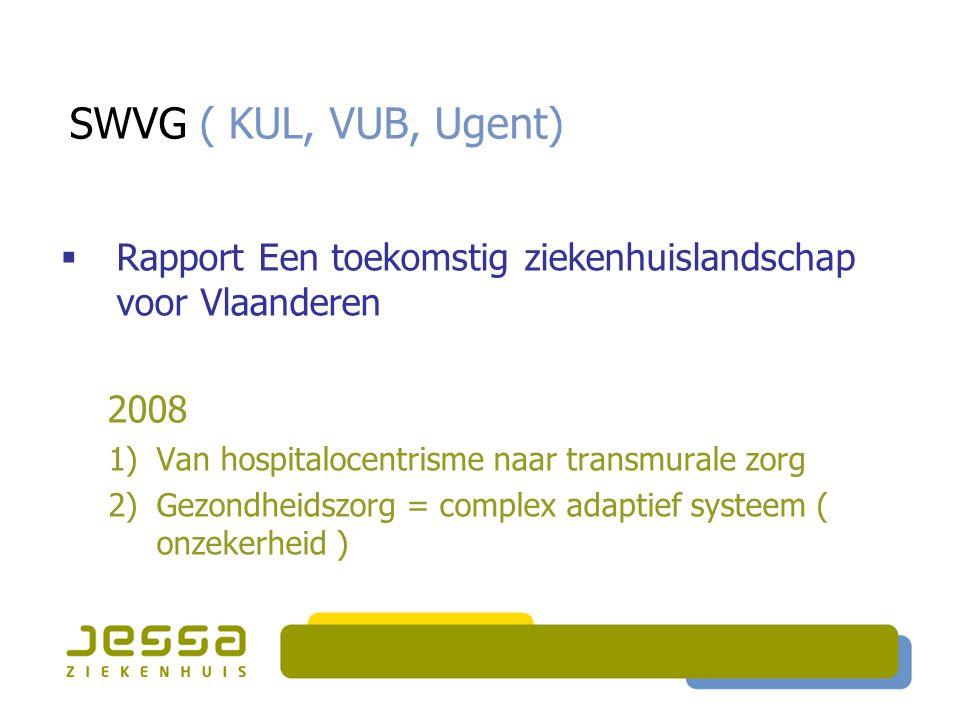 SWVG ( KUL, VUB, Ugent)  Rapport Een toekomstig ziekenhuislandschap voor Vlaanderen 2008 1)Van hospitalocentrisme naar transmurale zorg 2)Gezondheids