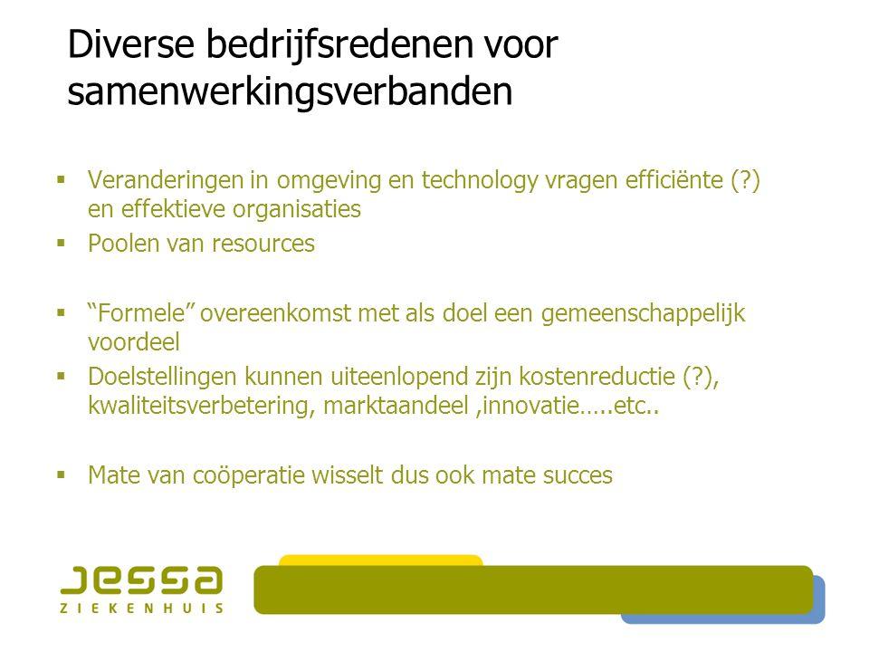 Diverse bedrijfsredenen voor samenwerkingsverbanden  Veranderingen in omgeving en technology vragen efficiënte (?) en effektieve organisaties  Poole