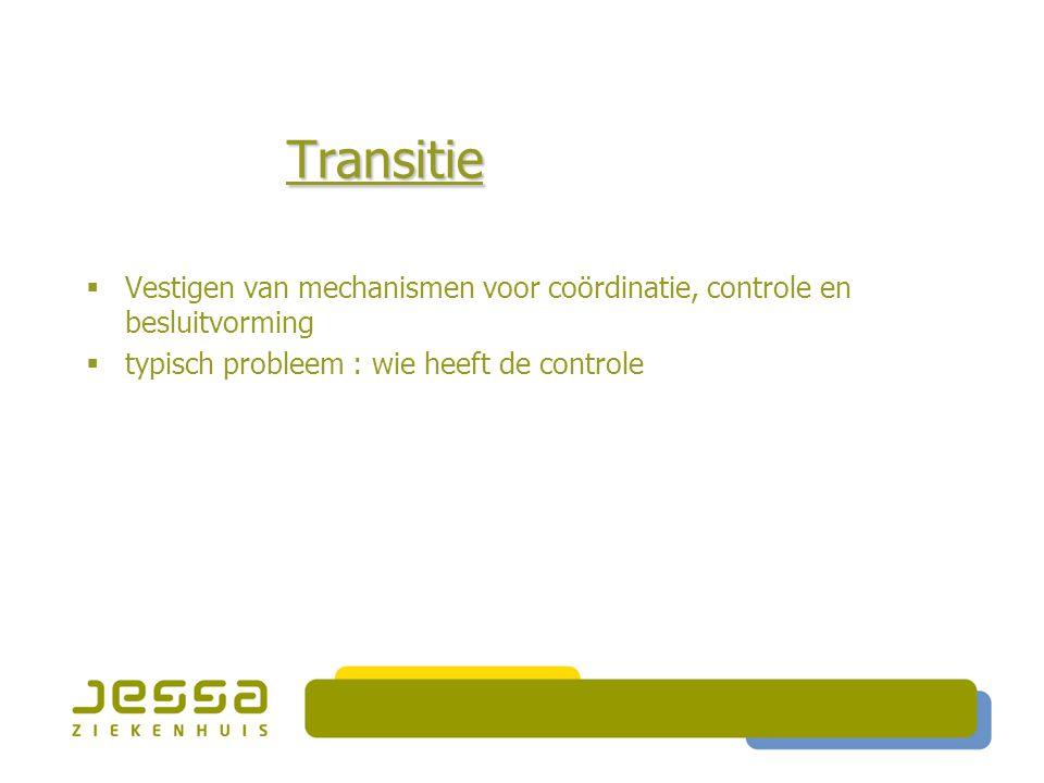 Transitie  Vestigen van mechanismen voor coördinatie, controle en besluitvorming  typisch probleem : wie heeft de controle